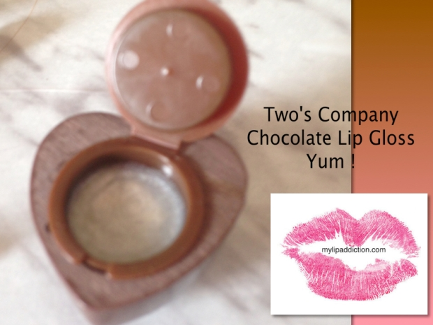 Two's Company Chocolate Lipgloss - Open it up and it tastes and smells like chocolate  ...
